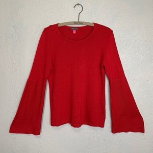 Vince Camuto red knit sweater with bell sleeves